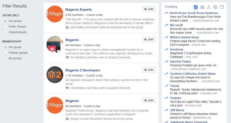 facebook magento group