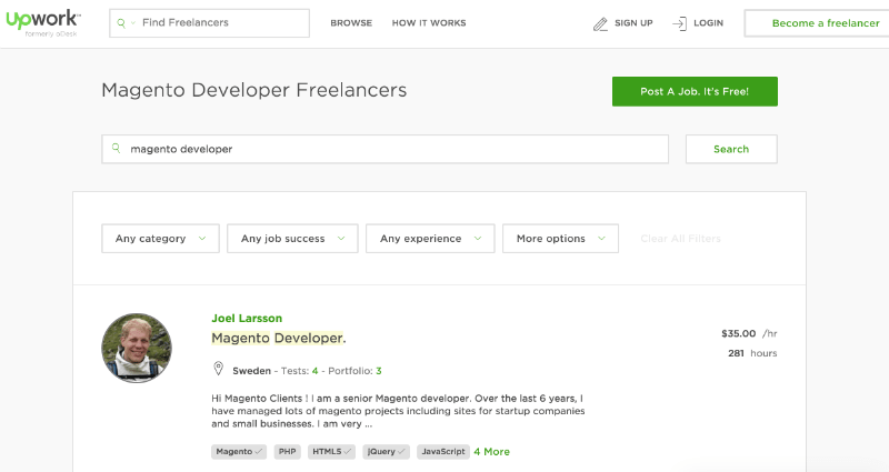 freelance magento developer search