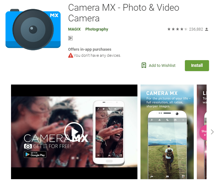 Camera MX android app