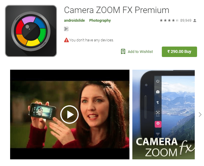 Camera zoom FX android app