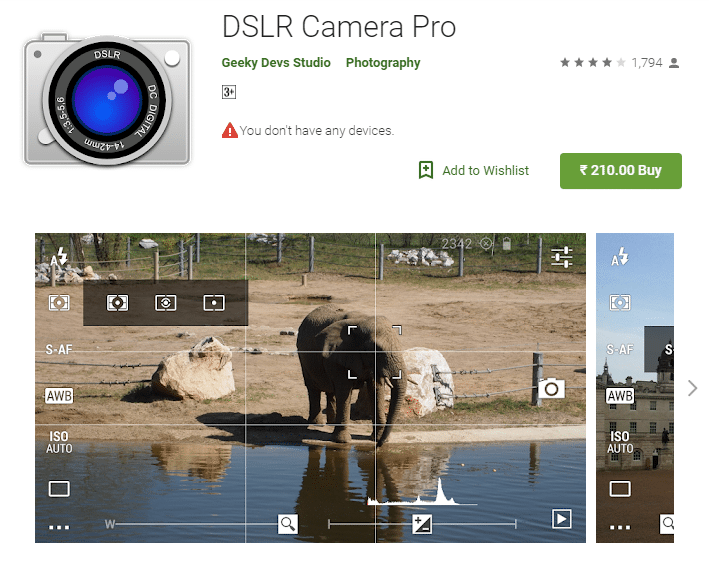 DSLR camera Pro android app