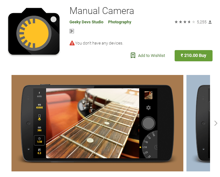 Manual Camera android app