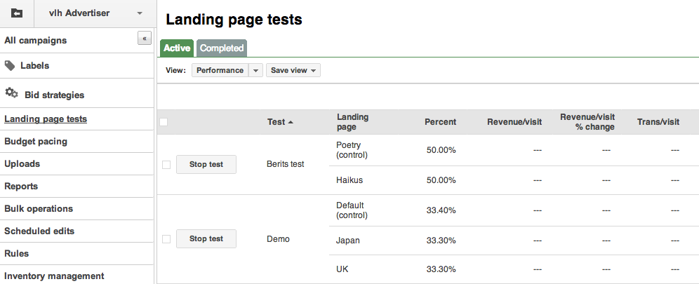 landing pages tests