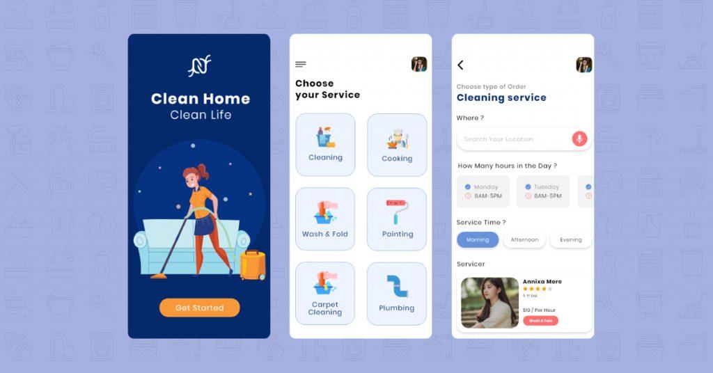 laudry app ui ux design
